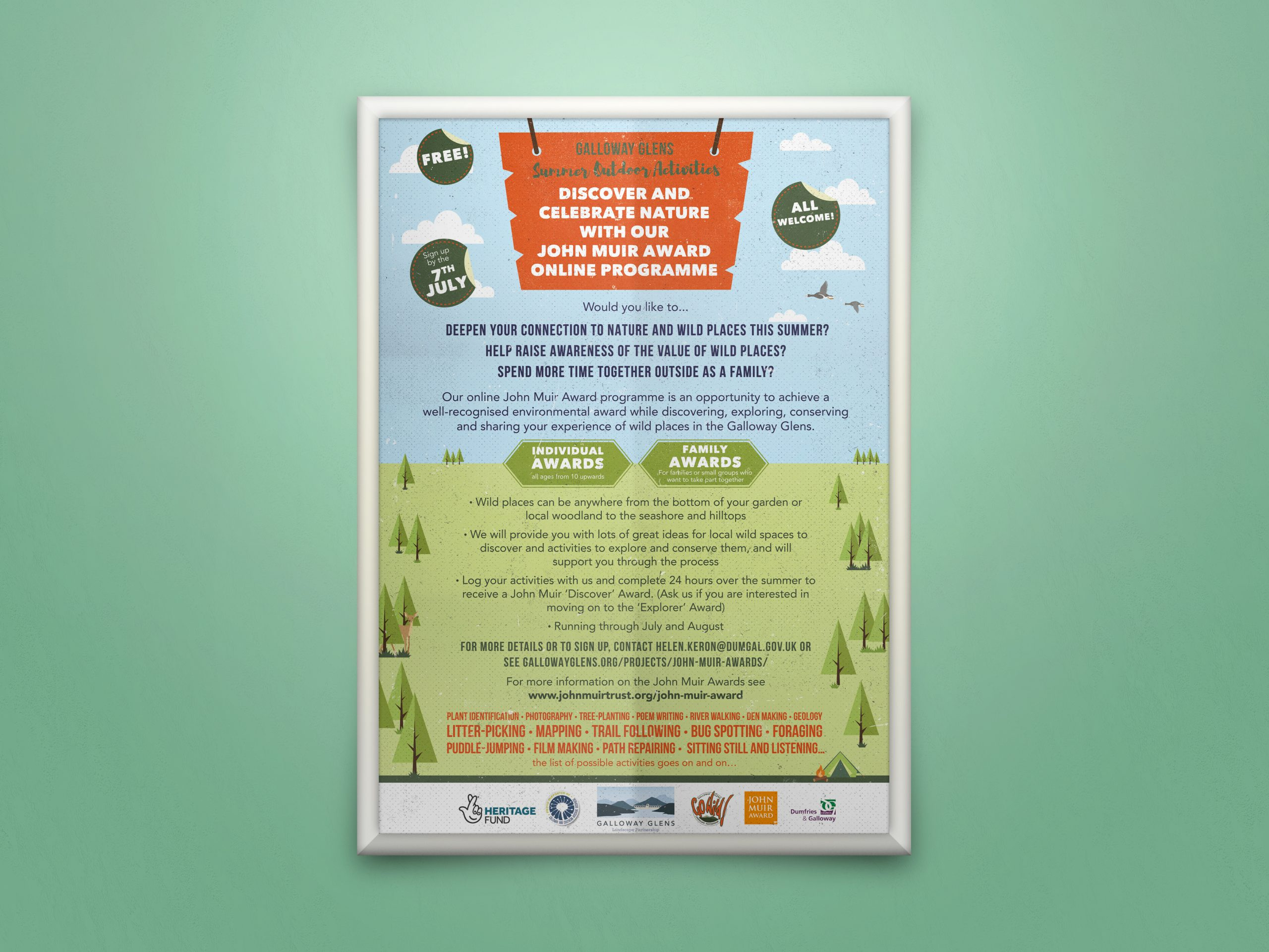 Image of a poster with a woodland theme promoting the John Muir Awards Program